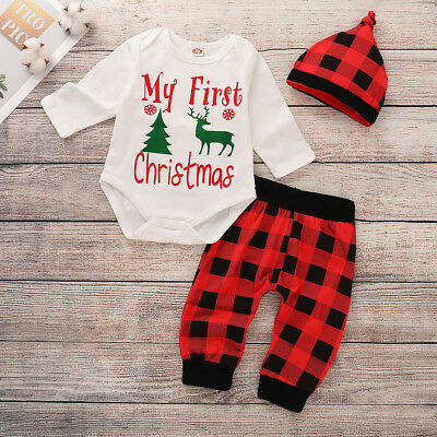 a04558bbc1ff My First Christmas Newborn Baby Boy Girl Romper Pants Hat 3Pcs Outfit  Clothes UK