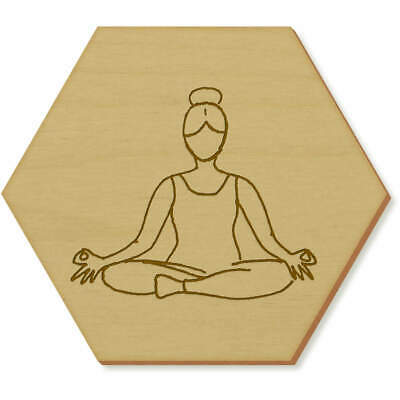 6 x 'Lotus Yoga Pose' 95mm Hexagon Wooden Coasters (CR00032757)