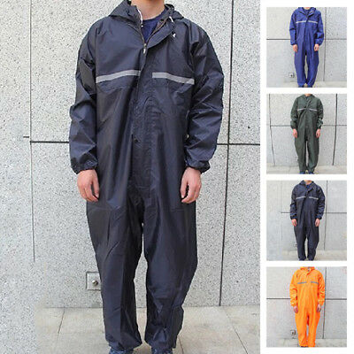 Motorbike Motorcycle Waterproof Raincoat Rain Suit One-Piece Overalls Work US