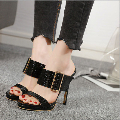 Summer Women's Ladies Stiletto High Heels Buckle Mules Casual Slip On Shoes Size