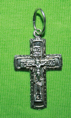 Vintage Crucifix 925 Silver Cross Pendant Orthodox Crosses Collecting #136