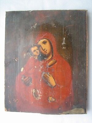 "Antique 19c Russian Hand Painted Wood Icon ""Vladimir Virgin"" RARE ORIGINAL"