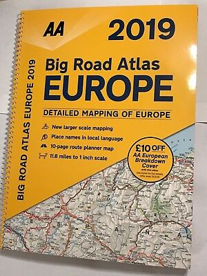 "2018/19 Aa Big Road Atlas Of Europe Large European Driving Map 1"":11.8 Brand New"