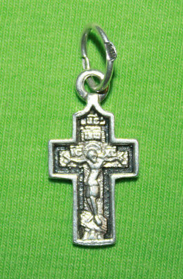 Vintage Crucifix 925 Silver Cross Pendant Orthodox Crosses Collecting #139