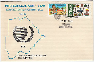 W8064 Botswana first day cover 1985; International youth year, Palapye DS