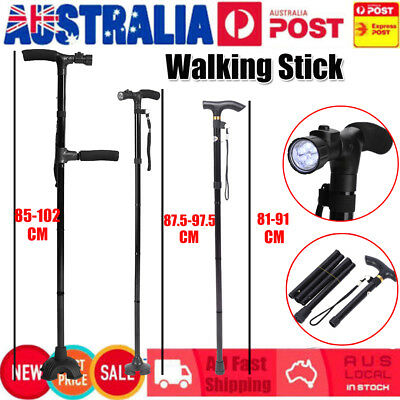 Handle Folding Adjustable Anti-Shock Telescopic Walking Hiking Stick & LED Light