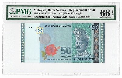 Malaysia ND (2009) RM50 Replacement /Star, Pick# 50*, PMG66EPQ, Gem Uncirculated