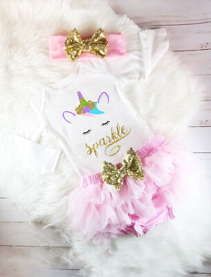 Fashion Newborn Baby Girl Unicorn Top Romper Short Pants Skirt Outfit Clothes UK