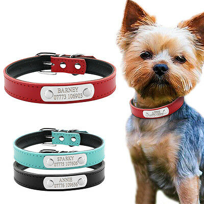 PU Leather Personalised Dog Collars Free Engraving Custom Cat Pet Name ID Collar