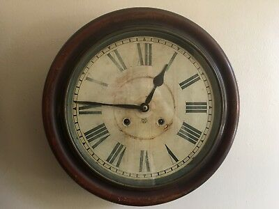 19th Century Antique 'Ansonia' Wall Clock, School / Station, Round, 15 Inch