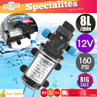 2X 12V 100W 8L/Min 160PSI Pressure Water Pump Self Priming Caravan Camping Boat