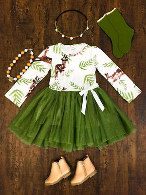 UK Stock Toddler Baby Girls Kids Casual Party Princess Dress Christmas Clothes