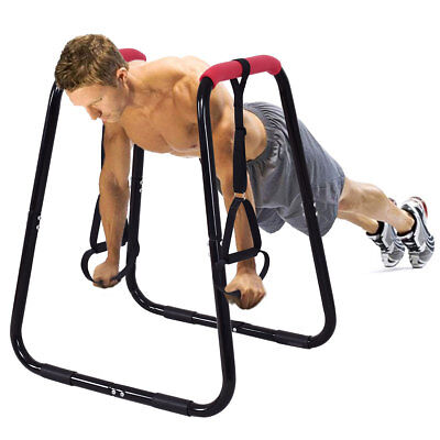 Dip Station Bar Stand Pull Up Parallel Bars Fitness Workout Home Gym Sling Loop