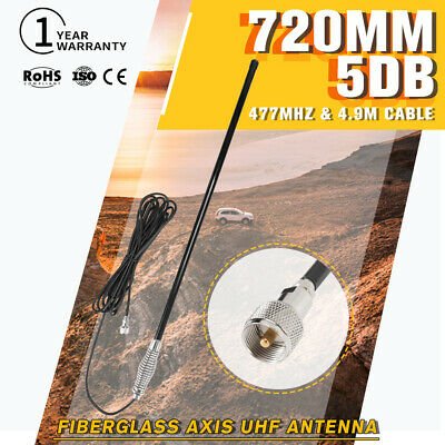 New Black 720mm Hi Gain UHF Antenna Fibreglass Axis 5DB For Oricom Uniden GME