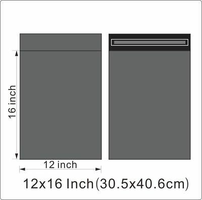 "1000 BAGS - 12"" x 16"" STRONG POLY MAILING POSTAGE POSTAL QUALITY SELF SEAL GREY"