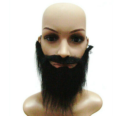 Black Fake Beard Mustache Men Stage Function Make Up Props Whiskers UK Seller