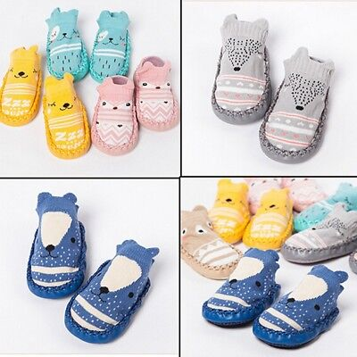 UK Newborn Baby Girl Boy Non-Slip Socks Infant Slipper Crib Shoe Soft Sock 0-12M
