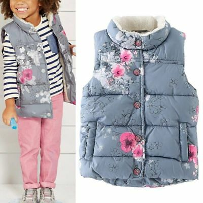 Kids Baby Girls Winter Printed Vest Hoodies Waistcoat Coat Jacket Gilet Outwear