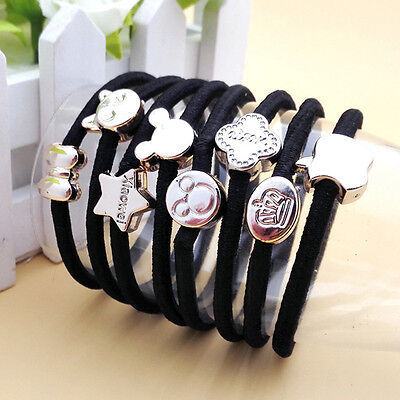 10x Women Black Elastic Hair Ties Bands Ropes Ring Ponytail Holder Accessory TOP