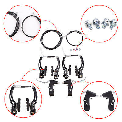 BIke MTB Bicycle Black Front and Rear Alloy Levers V Brakes Cables Caliper Set