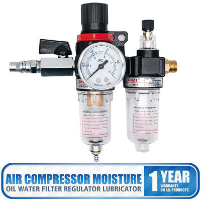 New Air Water Separator Compressor Oil Lubricator Trap Filter Regulator Gauge