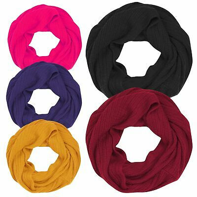 Girls Ladies Womens Snood Neck Warmer Fleece Knitted Scarf Scarves Shawl Cowl