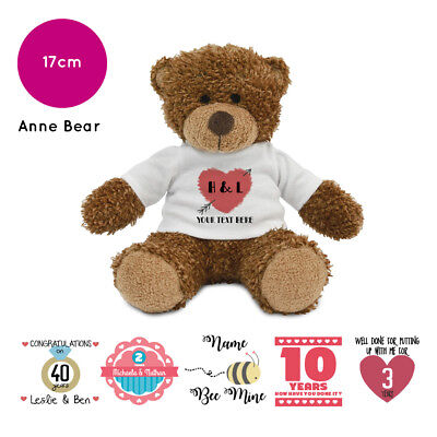 Personalised Name Anne Teddy Bear Anniversary Valentines Present Gift Gifts