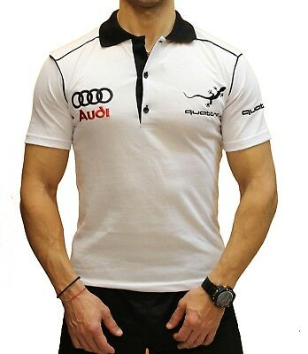 Handmade Polo Audi Quattro EMBROIDERED White Combed Cotton T-Shirt Embroidery