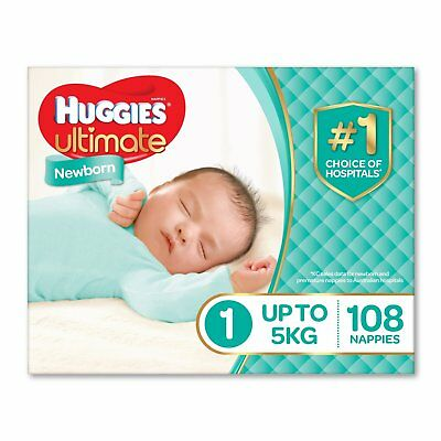 Huggies Ultimate Nappies, Unisex, Size 1 Newborn (Up To 5kg) 108 Count Free Post