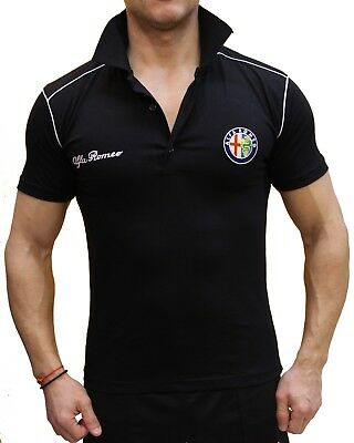 Handmade Polo Alfa Romeo EMBROIDERED Black Combed Cotton T-shirt Embroidery 156