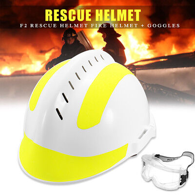 Rescue Reflective Helmet Fire Fighter Protective w/ Glasses Safety Protector F2