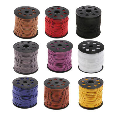 DIY Faux Leather/Suede Cord 2.6mm Flat Rustic String 100 Yards Velvet Ribbon