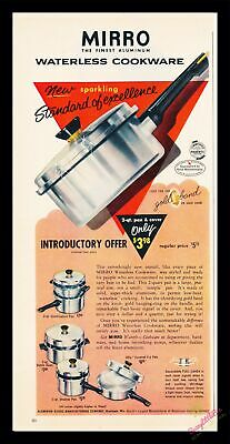 1956 Vintage Print Ad~Mirro Aluminum Cookware~Waterless~J500