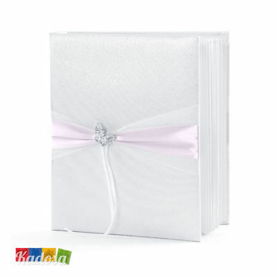 Guest Book Matrimonio Bianco Decorazione Rosa e Farfalla - Wedding Libro Firme