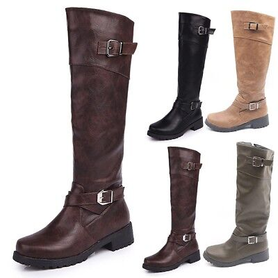 0e98a2ced9d32 Newest Womens Knee High Stretch Calf Flat Low Heel Zip Ladies Riding Casual  Boot
