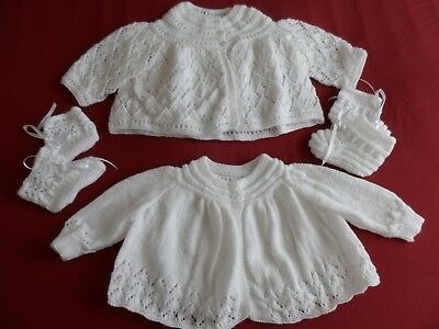 Two Hand Knitted Baby Matinee Coats  & Two Pairs Of Bootees  ( A ).