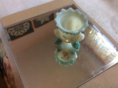 """Vintage Boyd's Glass Milk Glass 2.5"""" T Forget-Me-Not Flowered Toothpick Holder"""