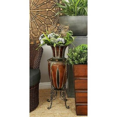 Tuscan Vases Home Decor | Floor Vase With Stand Tuscan Old World Metal Entryway Planter Home