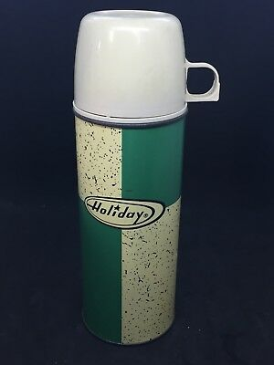 RETRO VINTAGE HolidayPint Size Thermos King Seely Green & Cream Color w/Specks