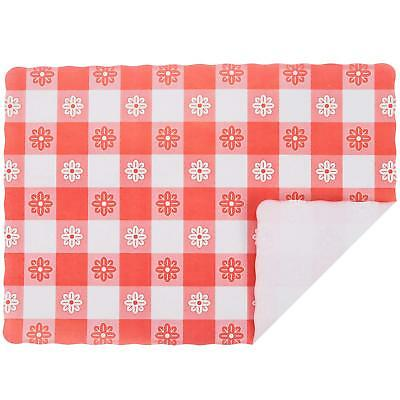 """Red Gingham Colored Paper Placemat - 1000/Case Size: 10"""" x 14"""""""