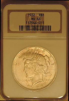 1922 Peace Silver dollar NGC MS 63 choice uncirculated