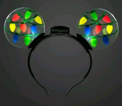 Disney Parks Mickey Mouse Ears Holiday Light-Up Headband New with Tags