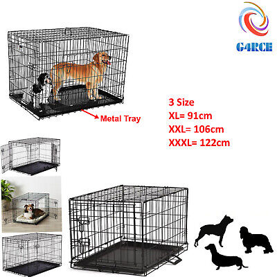 Uk Pet Crate Dog Cage With Plastic Tray Folding Metal Carrier Puppy Training Cat