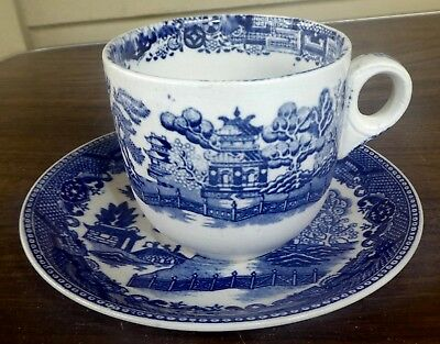 Antique Blue Willow Ware Japan Large Oversized Cup & Saucer Set
