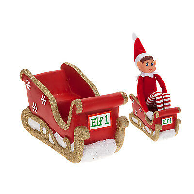 Set Of 2 Naughty Little Xmas Shelf Elf Sleigh With Led Lights Glitter Decoration