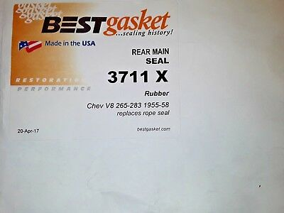 Chevy 348 409 V8 RUBBER Rear Main Seal Set BEST Late-1958-1965 2nd-design