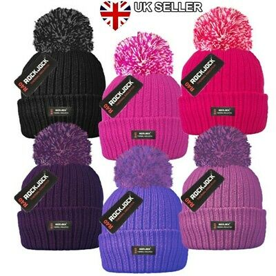 Knitted Thinsulate Style Thermal Ski Bobble Pom Beanie Woolly Hat Uk Seller