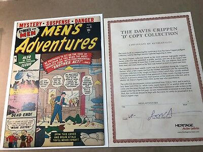 Men's Adventures #5 (1950) VF- OW Crippen D Copy COA Early Atlas Horror Sci Fi