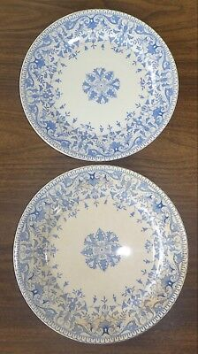 """ANTIQUE T & R BOOTE BLUE TRANSFERWARE Tournay Two plates 8-7/8"""" Lot of 2"""