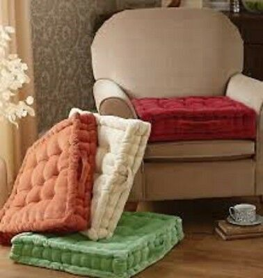 NEW ADULT CHUNKY BOOSTER CUSHION 100/% COTTON CHAIR SEAT PAD FOR SOFA GARDEN